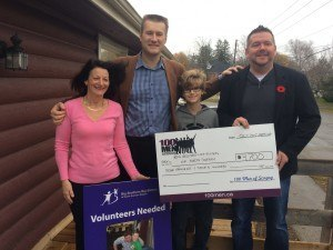 Oversized cheque presented to Big Brothers Big Sisters