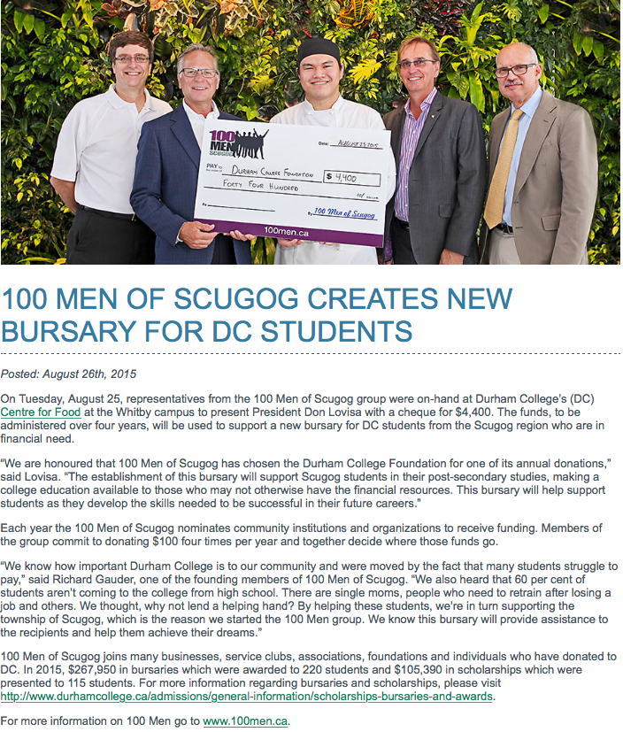 Cheque presentation to Durham College Bursary