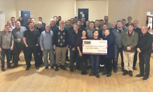 100 Men Donation Cheque Big Brothers big Sisters